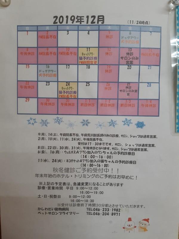 12月の休診日のお知らせ☆