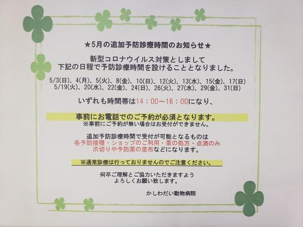 5月の追加予防診療時間のお知らせ☆