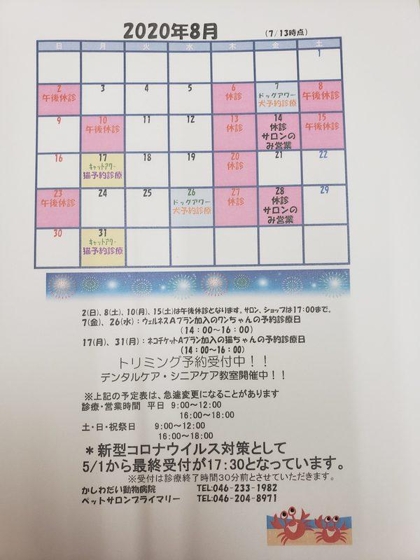 8月の休診日のお知らせ!