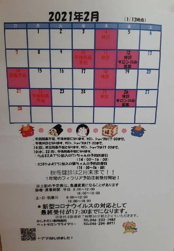 2月休診日のお知らせ☆